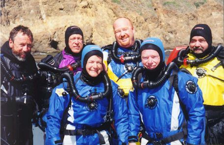 Dry suit divers with rebreathers